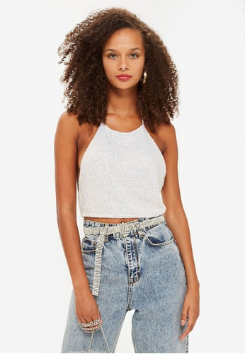 TOPSHOP white Sequin Halter Neck Top E107FAAEFA95BBGS_1