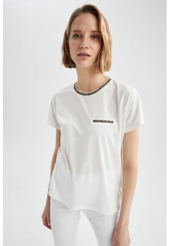 DeFacto beige Short Sleeve Round Neck T-Shirt 00CA3AA49FD50EGS_1
