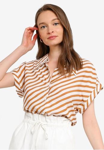 Compania Fantastica brown Stripe Collar Shirt 40F01AA4A2379FGS_1