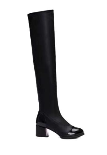 Twenty Eight Shoes 黑色 金屬粗跟顯瘦過膝靴 VB199 TW446SH2V3K1HK_1