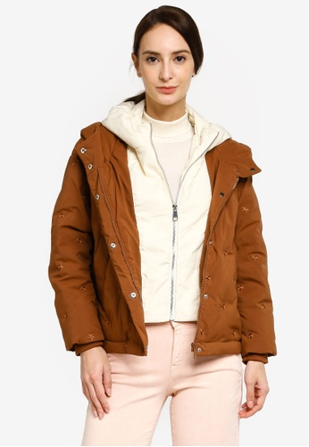 Hopeshow brown Star Embroidered Short Down Jacket D5E57AA3F4EE80GS_1