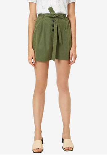 KOTON green Belted Pleated Button Shorts 741C3AA9E7DB23GS_1