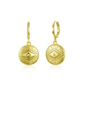 Glamorousky silver Fashion Simple Plated Gold Eye Pattern Round Earrings 26EAEAC234DA93GS_1