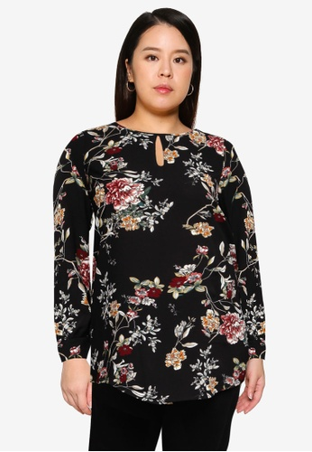 Only CARMAKOMA black Plus Size Carluxmila Long Sleeve Blouse FD2CEAA842889FGS_1