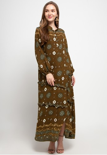 Kamilaa by Itang Yunasz brown Gamis Etnik 54FBDAAC5FB73DGS_1