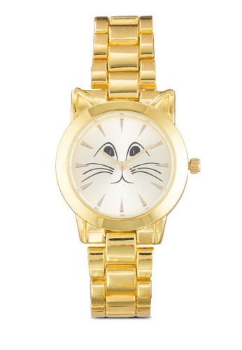 Something Borrowed gold Kitty Face Metal Strap Watch B92C0ACC06D144GS_1