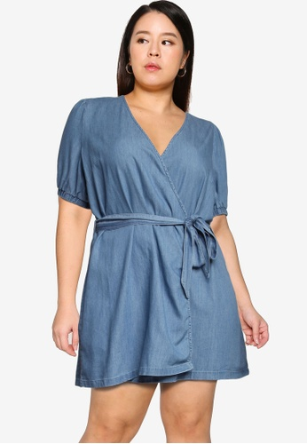 Only CARMAKOMA blue Plus Size Asta Wrap Denim Tunic 16C02AA8B664EDGS_1