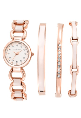 Anne Klein White And Gold Rose Stainless Steel Bracelet Watch With Changeable