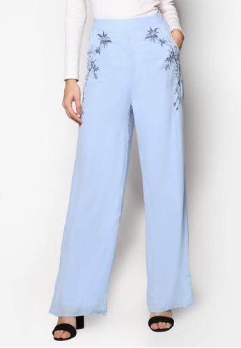 Luxe 繡花esprit台灣寬管長褲, 服飾, 長褲及內搭褲