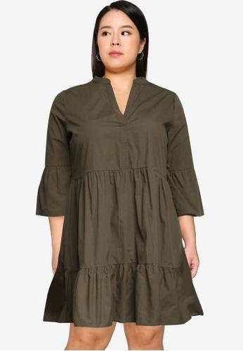 Only CARMAKOMA green Plus Size Corinne 3/4 Tunic Dress 16455AA21ED088GS_1