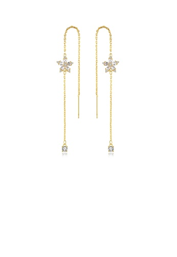 Glamorousky white Simple and Fashion Plated Gold Flower Tassel Earrings with Cubic Zirconia 1C70BAC447BBB7GS_1