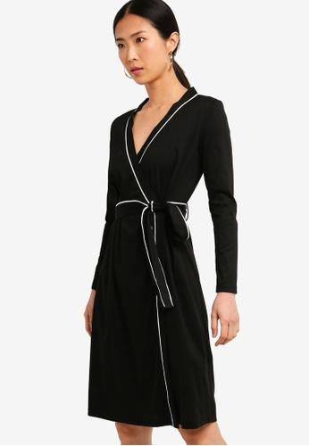 ZALORA BASICS black Basic Bow Wrap Dress 43CD5AA9679EC2GS_1