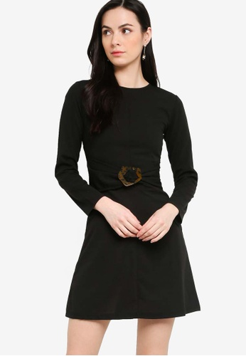 ZALORA black Buckle Detail Long Sleeve Dress 5695DAA0B4E665GS_1
