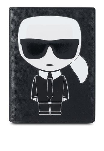 KARL LAGERFELD black K/Ikonik Passport Holder KA533AC0SDABMY_1