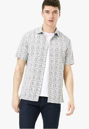 MARKS & SPENCER blue Printed Relaxed Fit Shirt FE1AFAA3335747GS_1
