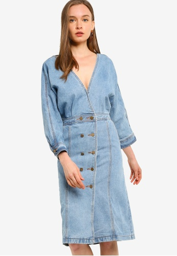 ZALORA blue Denim Kimono Sheath Dress F65FFAA79B9C81GS_1