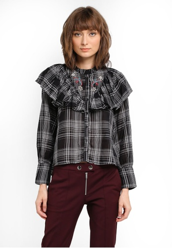Mango black Embroidered Checked Shirt MA193AA0T1DPMY_1