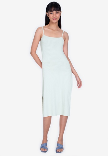 ZALORA BASICS green Rib Cami Bodycon Midi Dress D49B6AAFE541D8GS_1