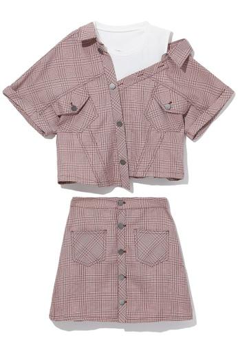 b+ab pink Off-shoulder denim shirt and skirt set F9DCFAAA148DFBGS_1
