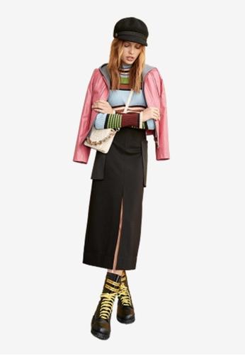 iROO black High Slit Fitted Skirt 94E61AA51F1ECCGS_1