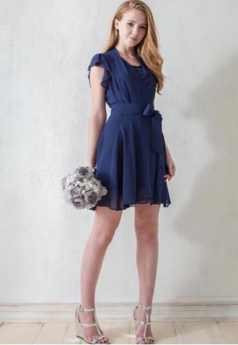 OL雪esprit童裝門市紡紗蝴蝶結腰帶洋裝, 服飾, 正式洋裝