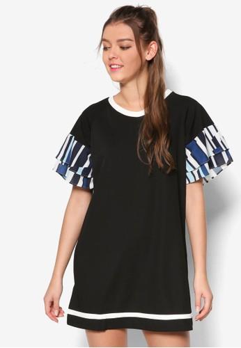 褶飾印花層次短袖直筒esprit 衣服連身裙, 服飾, 洋裝