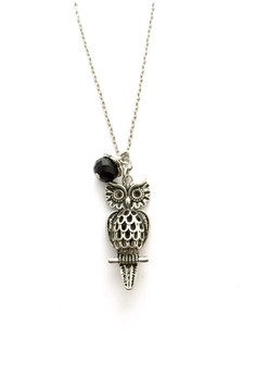 Silver Owl Necklace with Crystal Accent