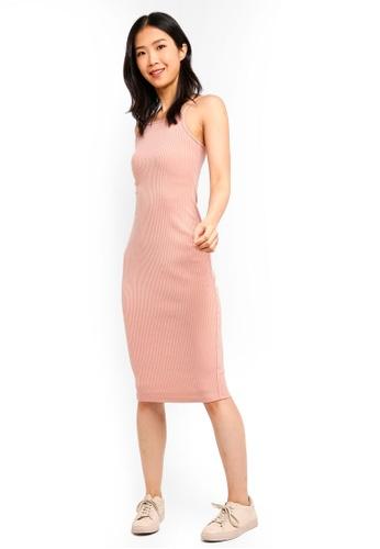 ZALORA BASICS pink Basic Rib Dress With V-Back F8527AA62BB5ACGS_1