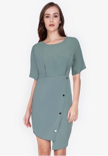 ZALORA WORK green Round Neck Wrap Dress A1FF6AAF490D75GS_1