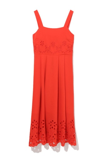 b+ab red Perforated sundress F52E1AA026617AGS_1