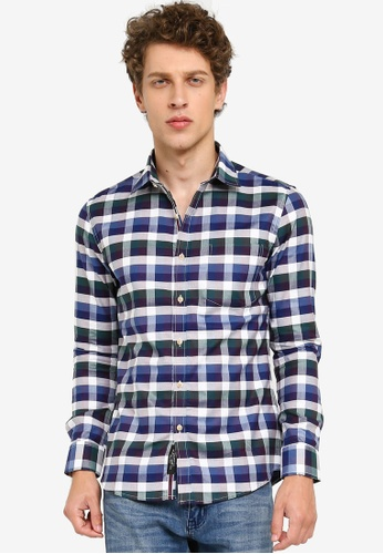 UniqTee navy Checkered Long Sleeve Shirt 34DDAAA1408444GS_1