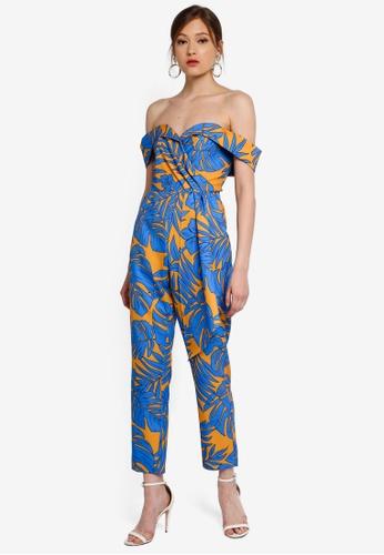 Lavish Alice blue and multi Pleated Bardot Draped Belt Tailored Jumpsuit 79511AA1E8559AGS_1