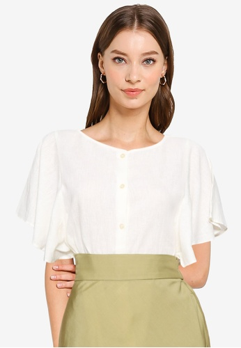 GLOBAL WORK white Frilly Blouse A8B24AA42837F8GS_1