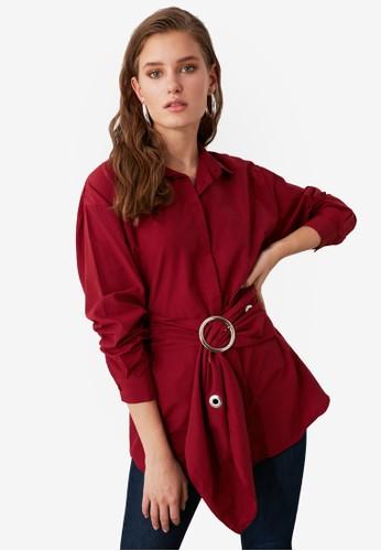 Trendyol red Belted Detail Shirt 472C5AADB55492GS_1