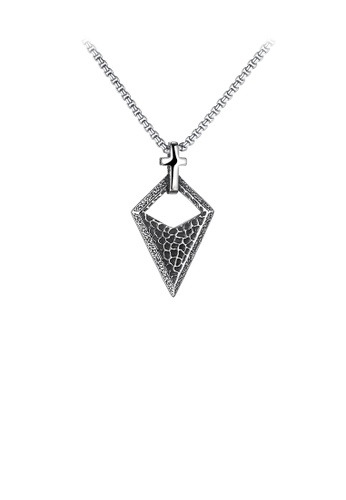 Glamorousky silver Simple Personality Cross Pattern Diamond 316L Stainless Steel Pendant with Necklace D28D6ACF4228D2GS_1