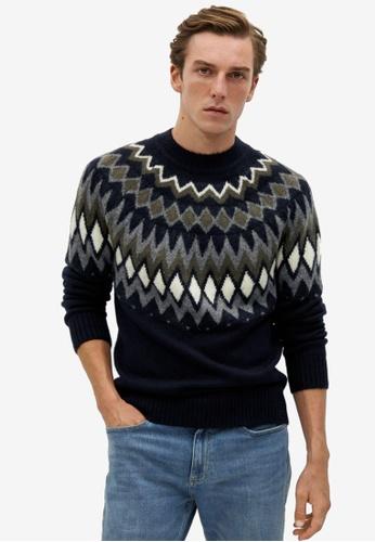 Mango Man blue Jacquard Wool Sweater 7046FAA933398CGS_1