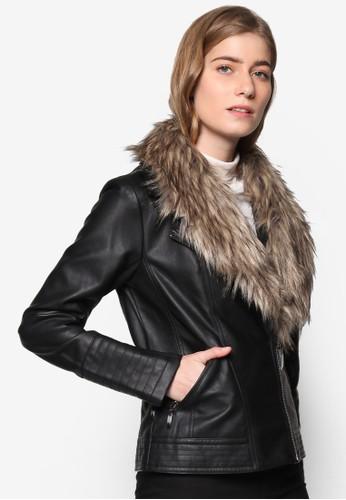 esprit 台北仿毛領騎士皮外套, 服飾, 外套