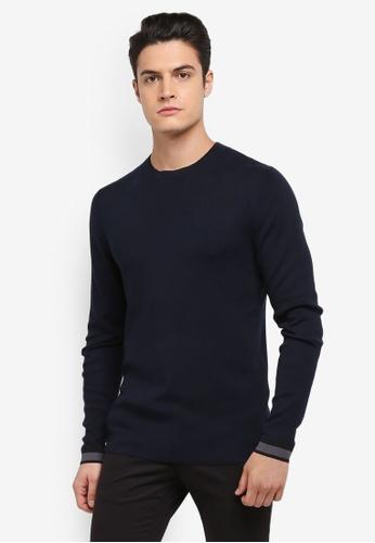 Selected Homme 藍色 長袖圓領針織衫 FEDFBAAC106407GS_1