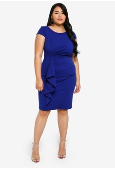 b2414270a3 31% OFF Goddiva Plus Size Front Frill Midi Dress S$ 97.90 NOW S$ 67.90 Sizes  16 18 20 22 24