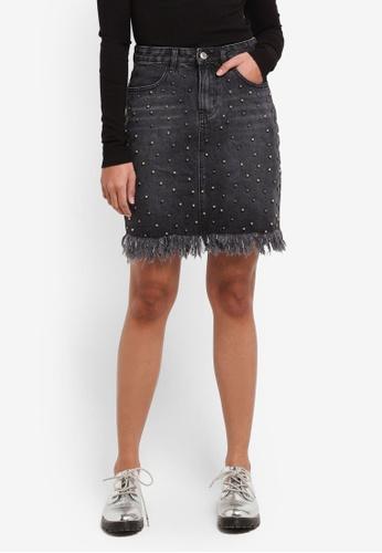 Something Borrowed grey Embellished Denim Skirt 97A30AAB92ACD9GS_1