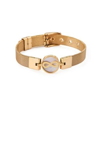 Glamorousky silver Fashion Temperament Plated Gold Geometric Circle Infinite Symbol Mesh Belt 316L Stainless Steel Bracelet BC630ACC0DD316GS_1