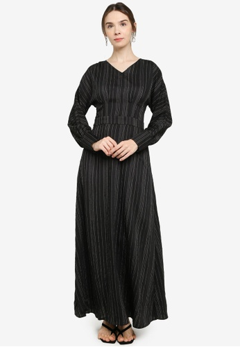 ZALIA BASICS black A-Line Striped Dress 08421AAE806BA6GS_1