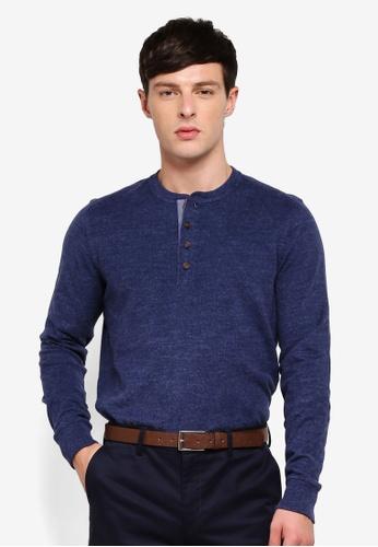 Brooks Brothers 海軍藍色 亨利領T恤 B0DE4AAEF4A618GS_1