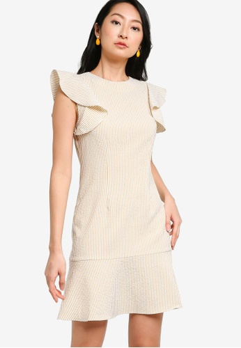 ZALORA BASICS yellow and multi Ruffle Sleeves Mini Dress 028D0AA3A9265FGS_1