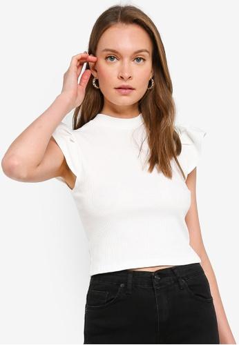 Trendyol white Ecru Mock Neck Ruffle Sleeve Crop Top 647BBAABBF5D46GS_1