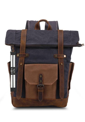 Twenty Eight Shoes Vintage Leather Wax Canvas Backpack T0010 50759AC1D76104GS_1