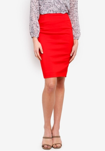 FORCAST red Rose Pencil Skirt 4BB42AA7808043GS_1