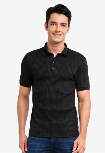 River Island black Chunky Rib Polo Shirt A3D4AAAB53929FGS_1