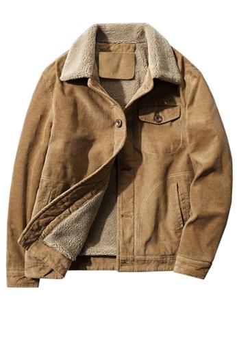 Twenty Eight Shoes brown VANSA Fashionable Warm Corduroy Coat  VCM-C83866 9213DAA6411485GS_1