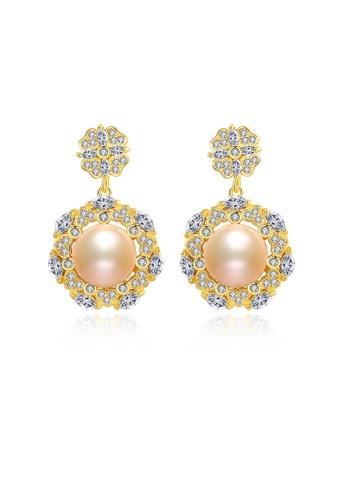 SUNRAIS gold Premium color stone golden flower earrings 0DF50ACB378CE0GS_1